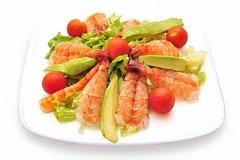 E14, salade de crevettes et d'avocat